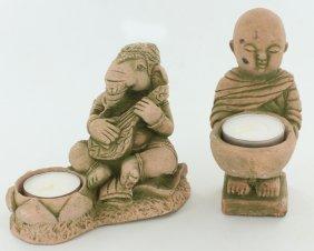 Sandstone Genesh & Monk Candle Holder Pair