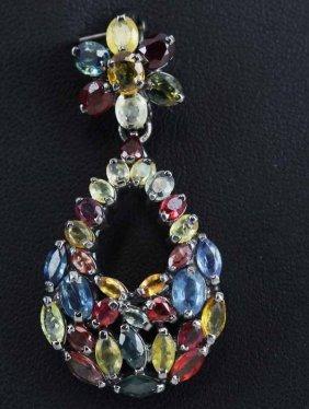39.5twc 3 Color Sapphire Pendant