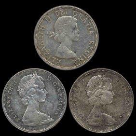 1964-6 Canada $1 3pcs Au+