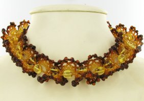 Rare Handcrafted Natural Baltic Amber Necklace Russia