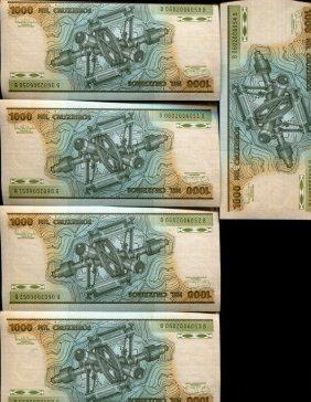 1981 Brazil 1000c Crisp Unc Note 10pcs Scarce