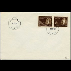 1968 Sweden 25o Pair #632 New Year Cover Scarce