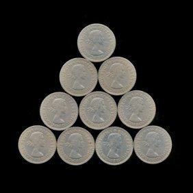 1959 Gb Scarce Scottish Reverse Shilling Xf/au 10pcs