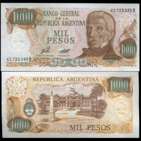 1980 Argentina 1000 Peso Note Gem Crisp Uncirculated
