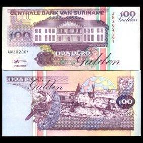 1998 Suriname 100 Gulden Gem Crisp Uncirculated Note