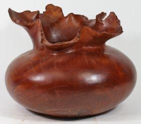 Afzelia Burl Handcarved Wood Vase