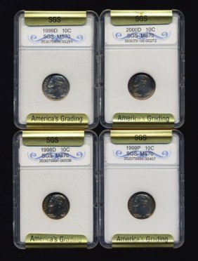 1998-2000 Roosevelt Dime Set Graded Gems