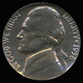 1958 Jefferson Nickel Graded Gem Rainbow Toned
