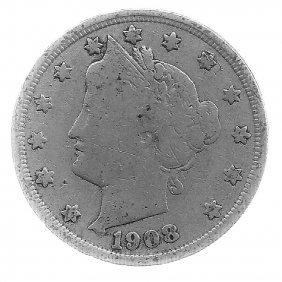 1908 Better Grade Lib 5c Partial Liberty Showing