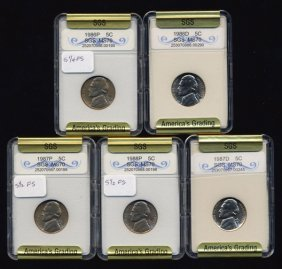 1986-88 Jefferson Nickel Set Graded Gems