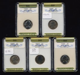 1988-91 Jefferson Nickel Set Graded Gems