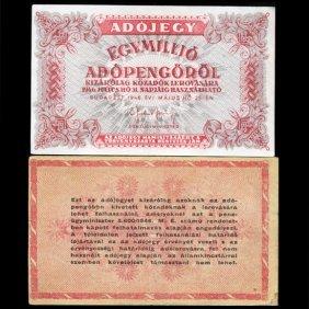 1946 Hungary 1mm Pengo Tax Note Better Grade Scarce
