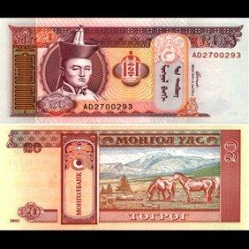 1993 Mongolia 20 Tugrik Note Gem Crisp Unc