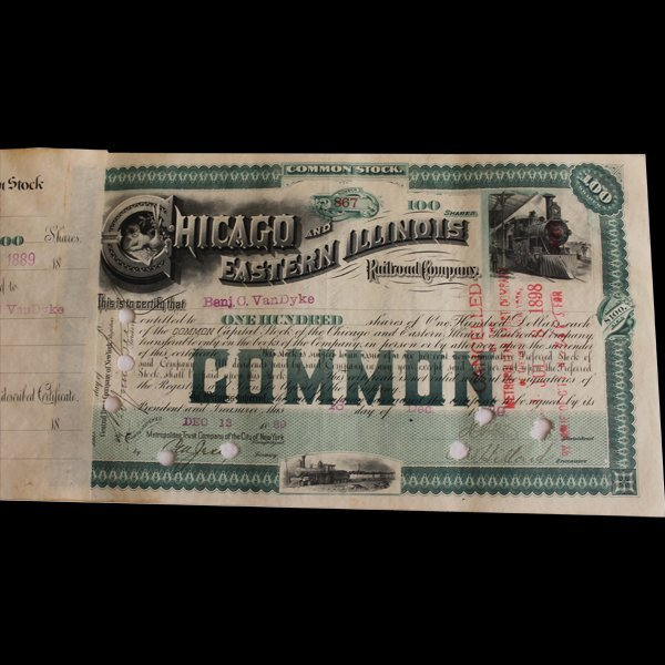 Rare 1880s Chicago Eastern Illinois Railroad Stock