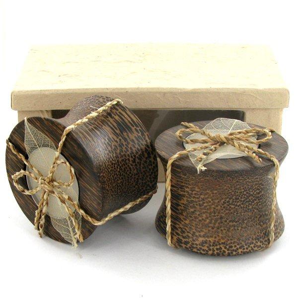 Sugarpalm Wood Candle Holder