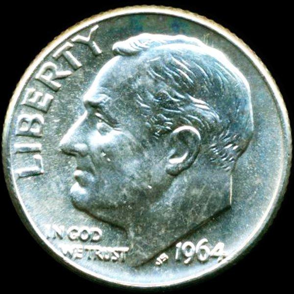 1964D FDR Silver 10c GEM+ UNC