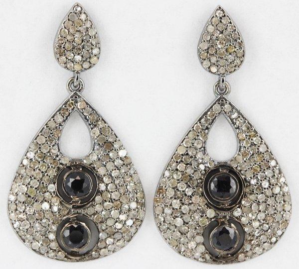 43.7twc Black Rhodium Sterling Diamond Earrings