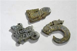 A Group of Three Jade Animal Pendant
