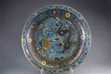 A Chinese Bronze Cloisonne Dragon & Phoenix Plate