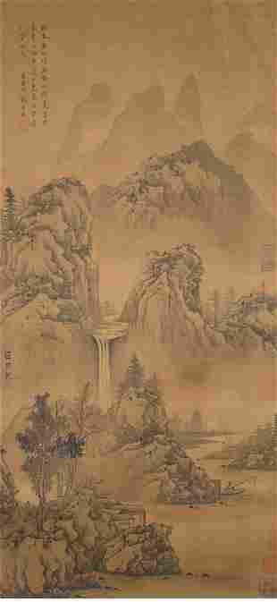 A chinese fishing painting scroll, ju ran mark