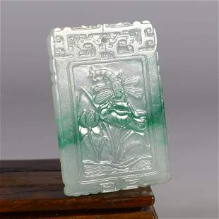 A Carved Jadeite Lotus Pond Plaque Pendant