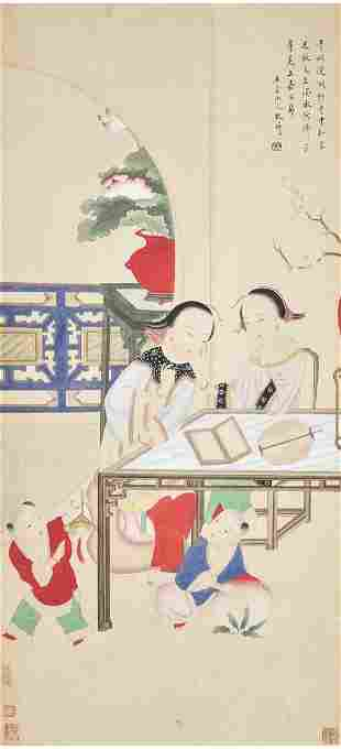 A Chinese Figures Painting Scroll, Gai Qi Mark