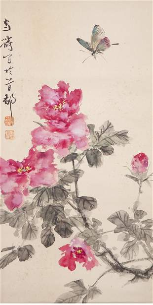 A Chinese Flower And Butterfly Painting Scroll, Wang