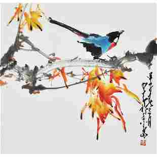 A Chinese Flowers And Birds Painting Scroll, Zhao