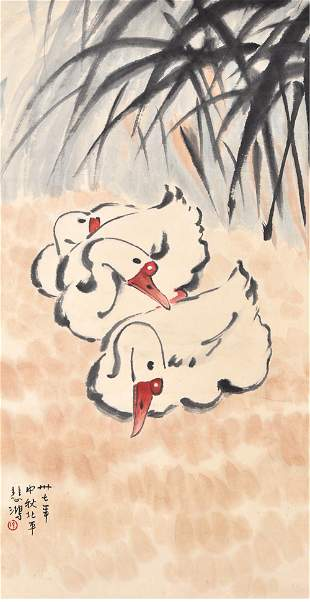 A Chinese Goose Painting Scroll, Xu Beihong Mark