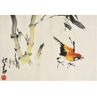 A Chinese Bamboo And Birds Painting, Zhao Shaoang Mark