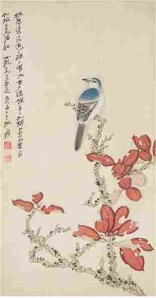 A Chinese Red Leaf And Birds Painting Scroll, Zhang