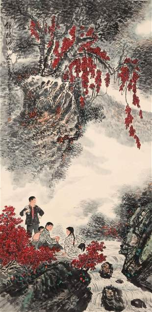 A Chinese Landscape And Figure Painting Scroll