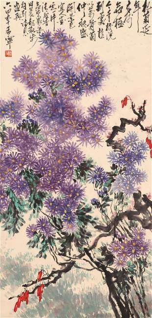 A Chinese Flowers Painting Scroll