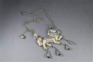 A Chinese Silver Enameling Lion Necklace