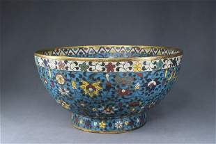 A Chinese Flower Branch Pattern Bronze Cloisonne Bowl