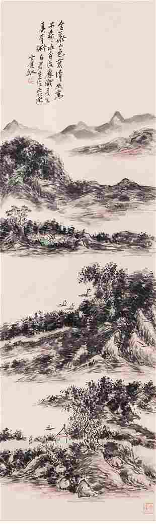 A chinese landscape painting scroll, huang binhong