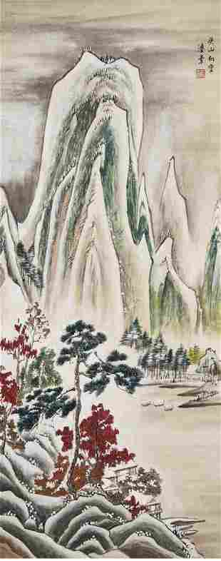 A chinese snow scenery painting paper scroll, pan su