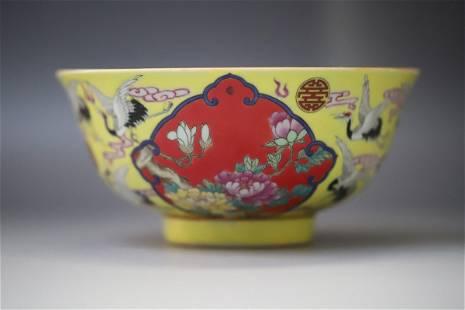 A Yellow Base Crane Pattern Porcelain Bowl