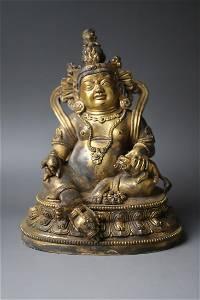 A Gilt Bronze Sitting Buddha Figure Statue