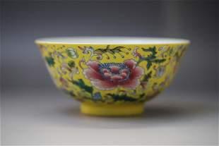 A Yellow Base Flower Pattern Porcelain Bowl