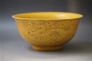 A Yellow Glazed Dragon Pattern Porcelain Bowl