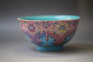 A Famille Rose Pink Base Flower Pattern Porcelain Bowl