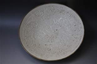 A Ding Ware Dragon Pattern Porcelain Bowl