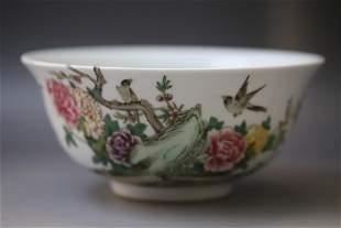 A White Base Bird Pattern Porcelain Bowl
