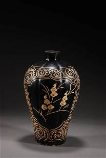 A Jizhou Kiln Carved Flower Pattern Porcelain Plum Vase