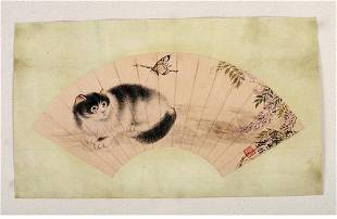 A Chinese Cat Fun Painting, Cao Kejia Mark
