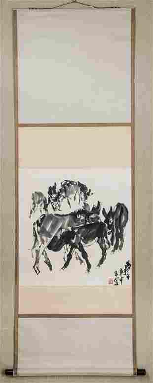 A Chinese Dunkey Painting, Huang Zhou Mark