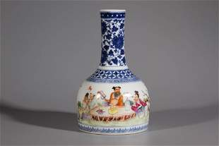 A Blue And White Eight Immortal Porcelain Vase
