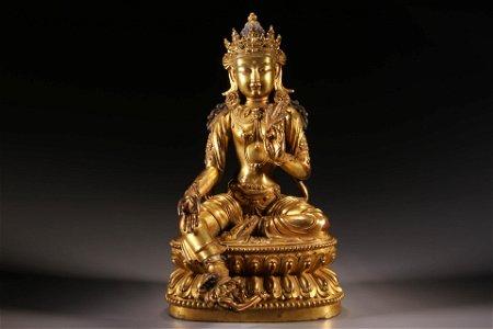 A Gilt Bronze Avalokitesvara Figure Statue