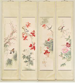A Group of Four Bird with Flower Painting, Ma Jiatong